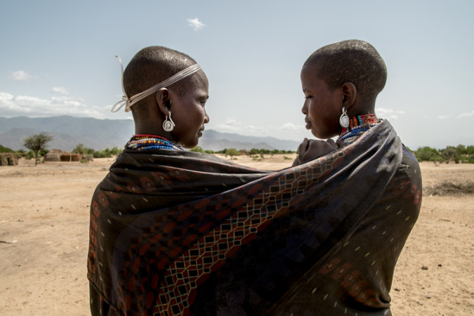 A couple of young ARbore women on a photo session in Ethiopia