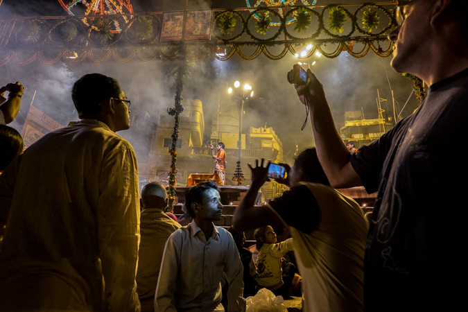 Pilgrims taking photos in Varanasi