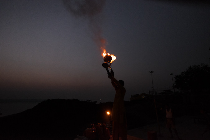 Fire during a ceremony at Varanasi