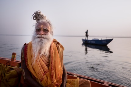 On a boat in Varanasi India