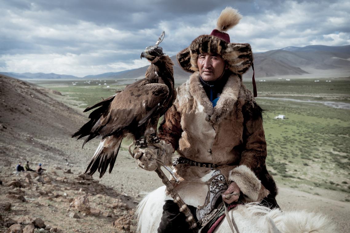 Eagle and horse on a Mongolia Photo Tou