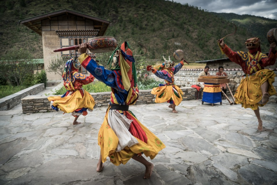 Group of people dancing in Bhutan