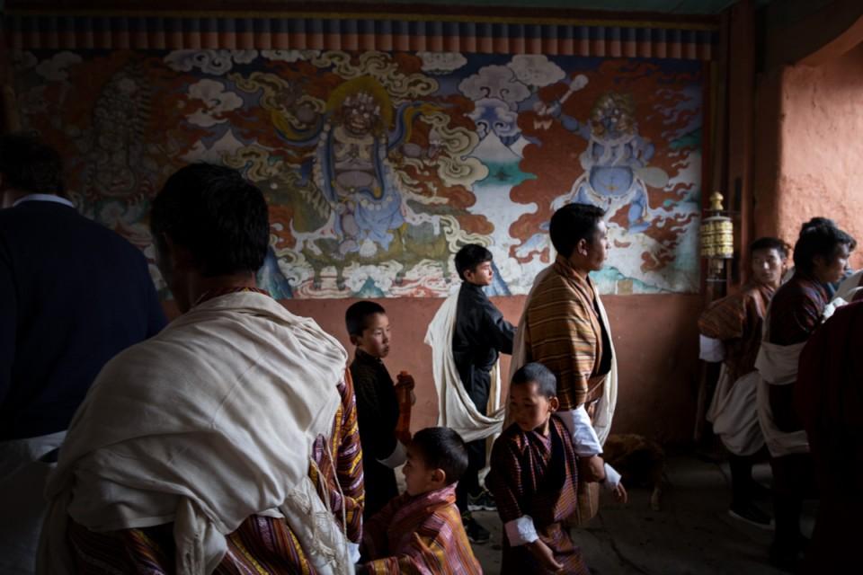 attending a dancing festival in Bhutan