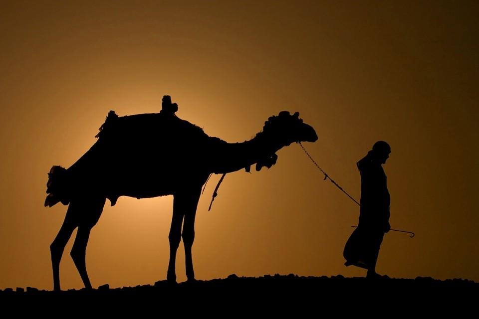 Men in Morocco desert