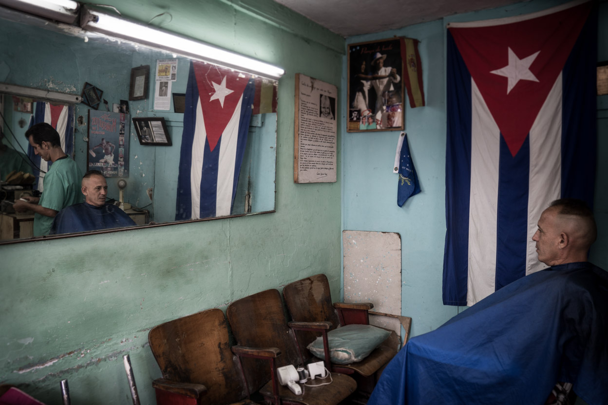 view of a barber shop in Cuba